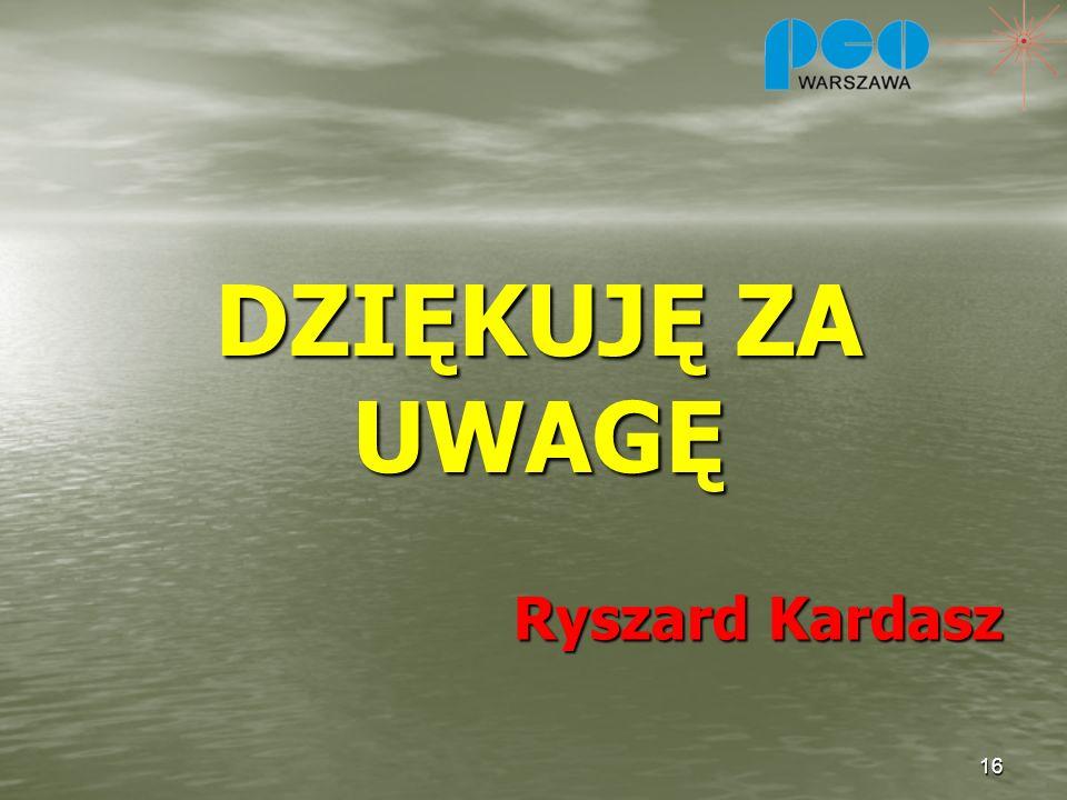 DZIĘKUJĘ ZA UWAGĘ Ryszard Kardasz
