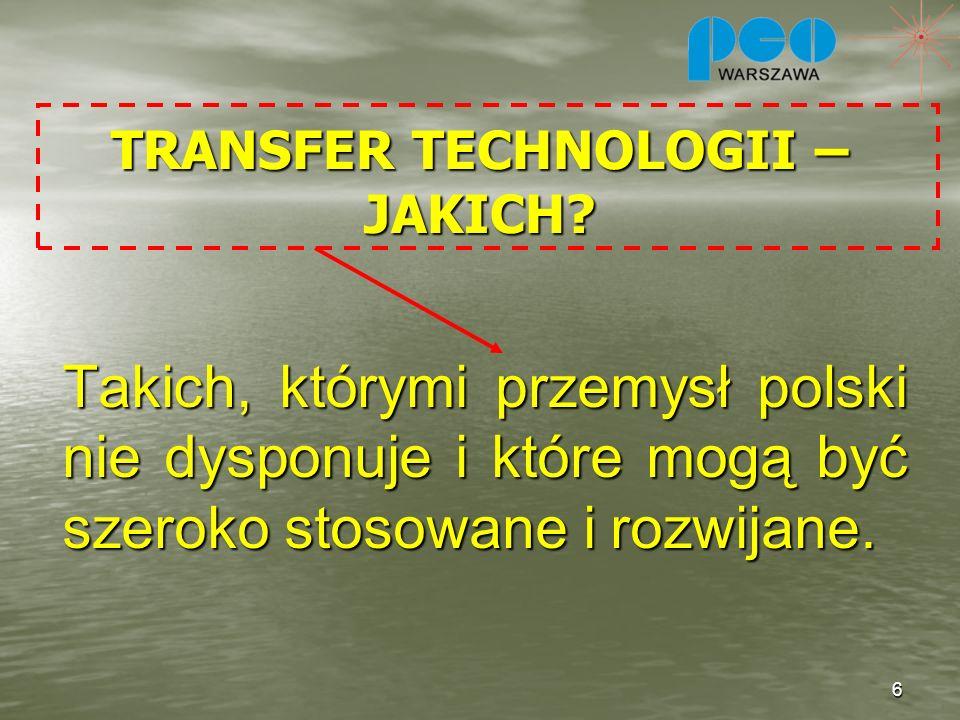 TRANSFER TECHNOLOGII – JAKICH