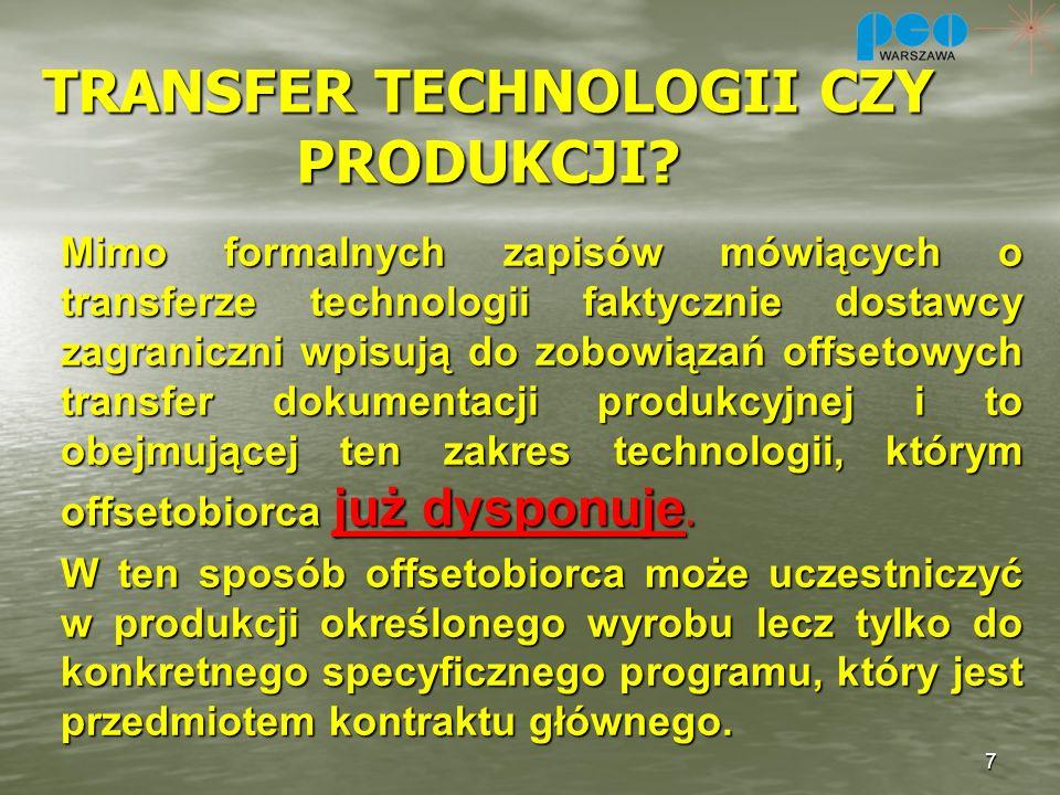 TRANSFER TECHNOLOGII CZY PRODUKCJI