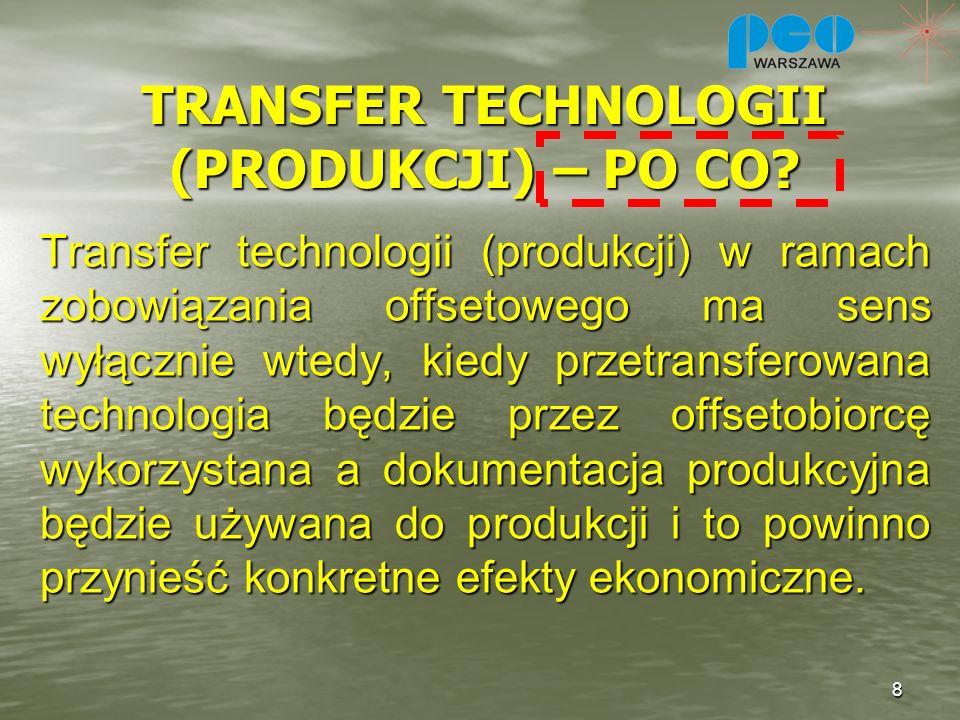 TRANSFER TECHNOLOGII (PRODUKCJI) – PO CO