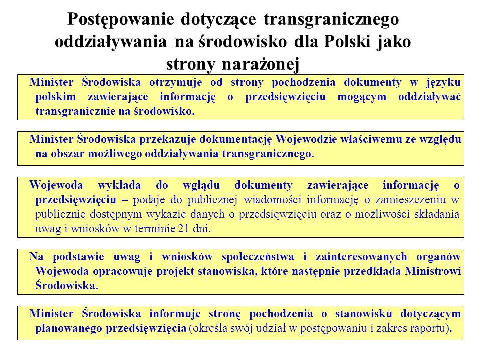 Postępowanie dotyczące transgranicznego oddziaływania na środowisko dla Polski jako strony narażonej