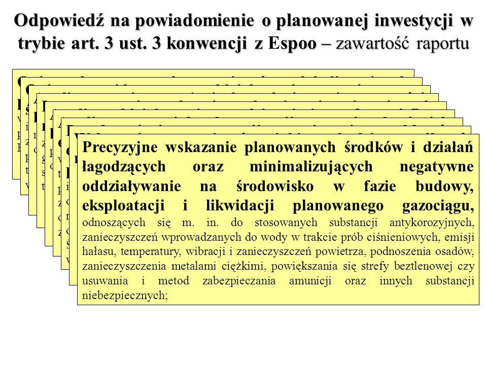 Odpowiedź na powiadomienie o planowanej inwestycji w trybie art. 3 ust