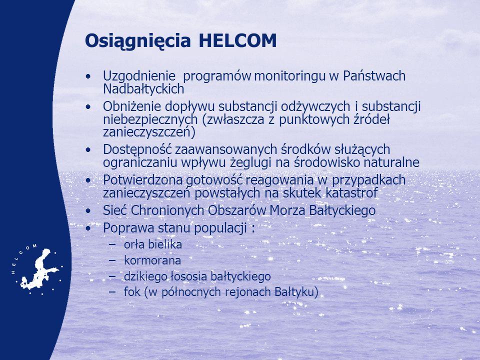 Osiągnięcia HELCOM Uzgodnienie programów monitoringu w Państwach Nadbałtyckich.
