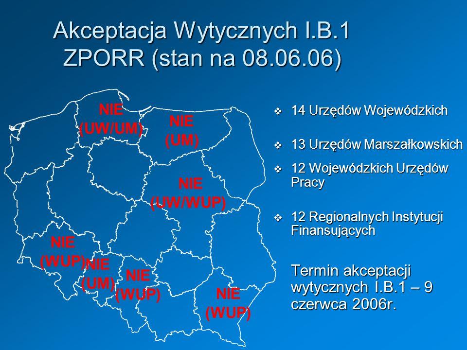 Akceptacja Wytycznych I.B.1 ZPORR (stan na 08.06.06)