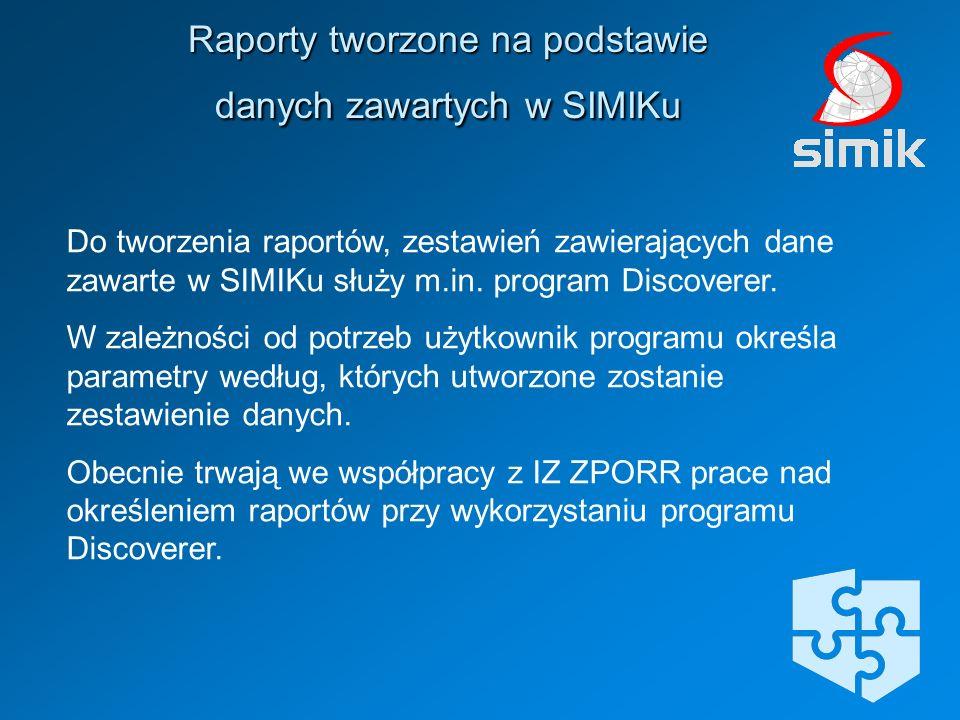 Raporty tworzone na podstawie danych zawartych w SIMIKu
