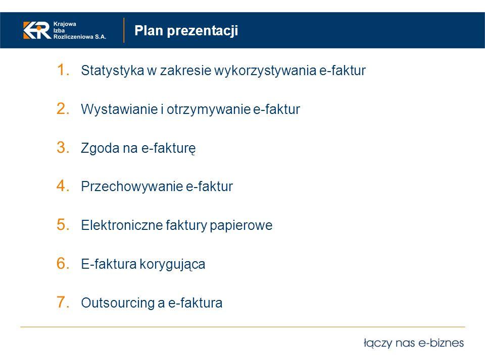 Plan prezentacji Statystyka w zakresie wykorzystywania e-faktur. Wystawianie i otrzymywanie e-faktur.