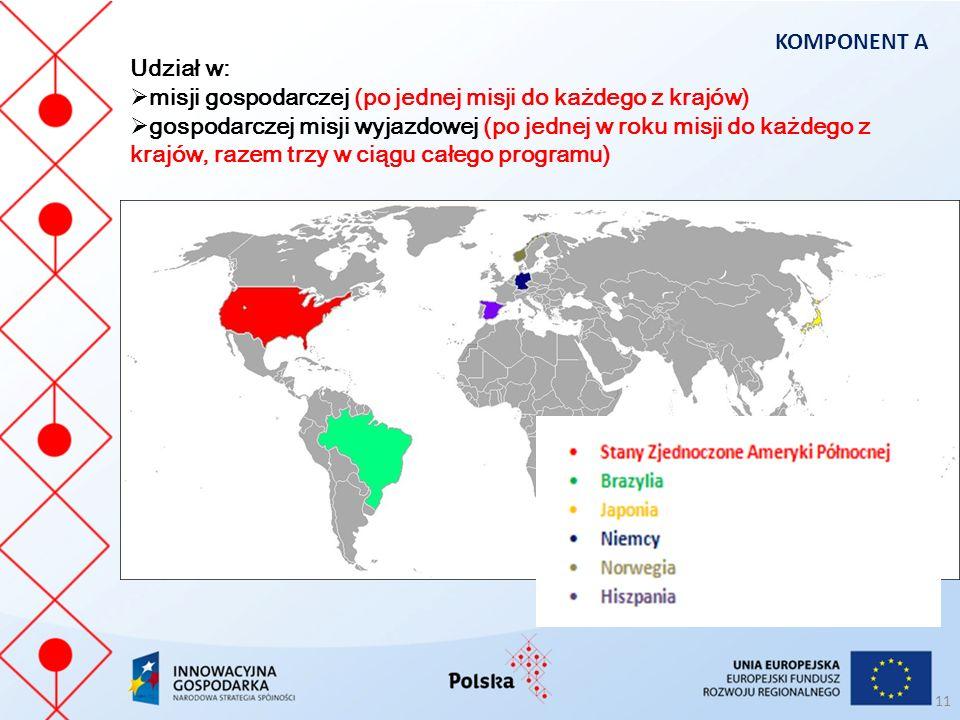 KOMPONENT A Udział w: misji gospodarczej (po jednej misji do każdego z krajów)