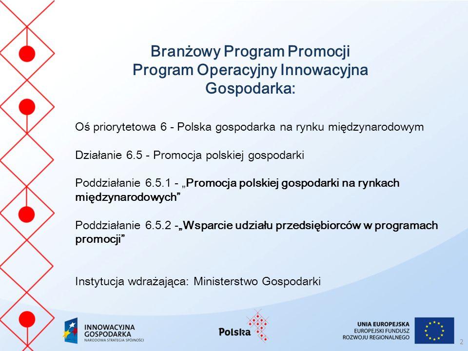 Branżowy Program Promocji Program Operacyjny Innowacyjna Gospodarka: