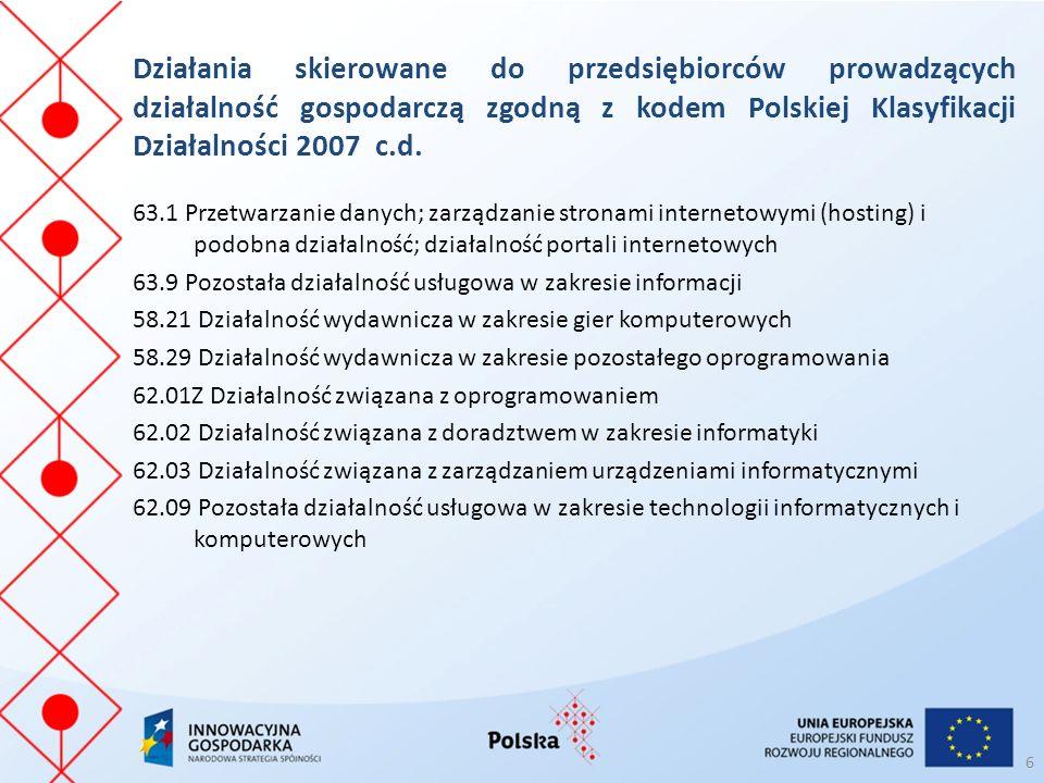 Działania skierowane do przedsiębiorców prowadzących działalność gospodarczą zgodną z kodem Polskiej Klasyfikacji Działalności 2007 c.d.