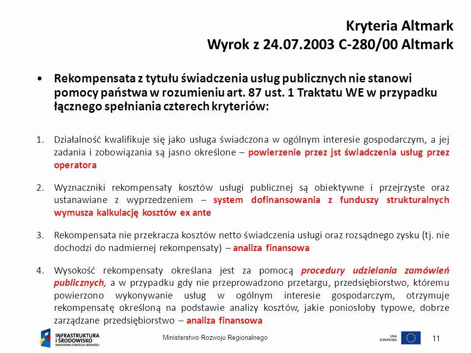 Kryteria Altmark Wyrok z 24.07.2003 C-280/00 Altmark