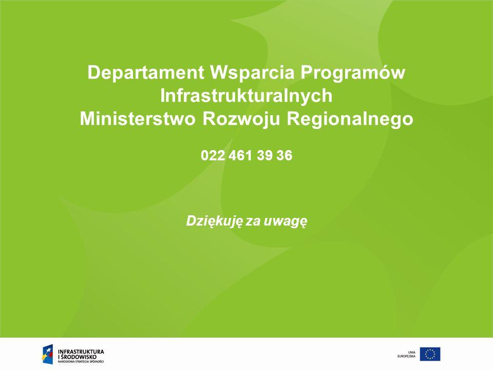 Departament Wsparcia Programów Infrastrukturalnych Ministerstwo Rozwoju Regionalnego 022 461 39 36
