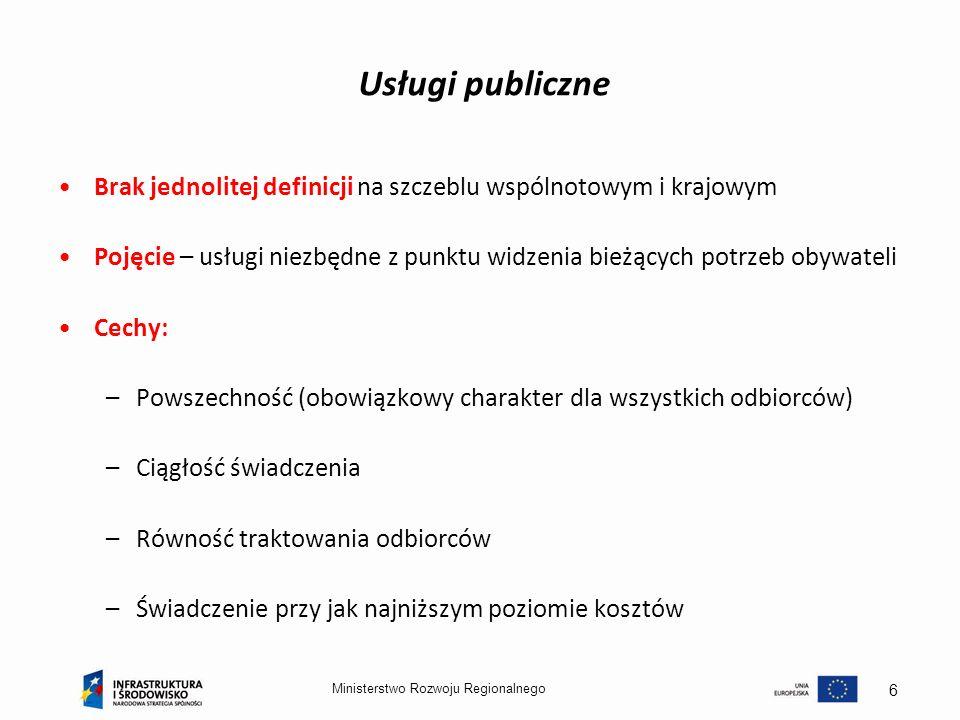 Usługi publiczne Brak jednolitej definicji na szczeblu wspólnotowym i krajowym.