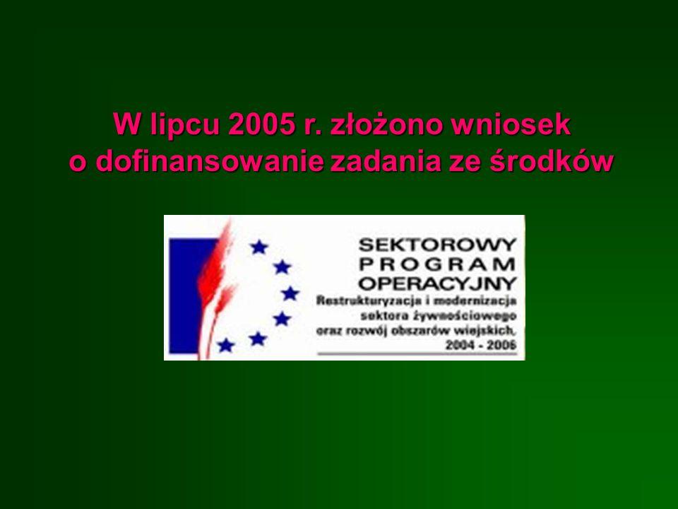 W lipcu 2005 r. złożono wniosek o dofinansowanie zadania ze środków
