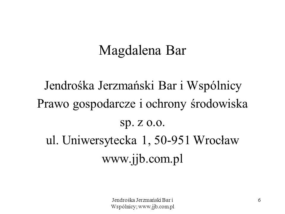 Magdalena Bar Jendrośka Jerzmański Bar i Wspólnicy