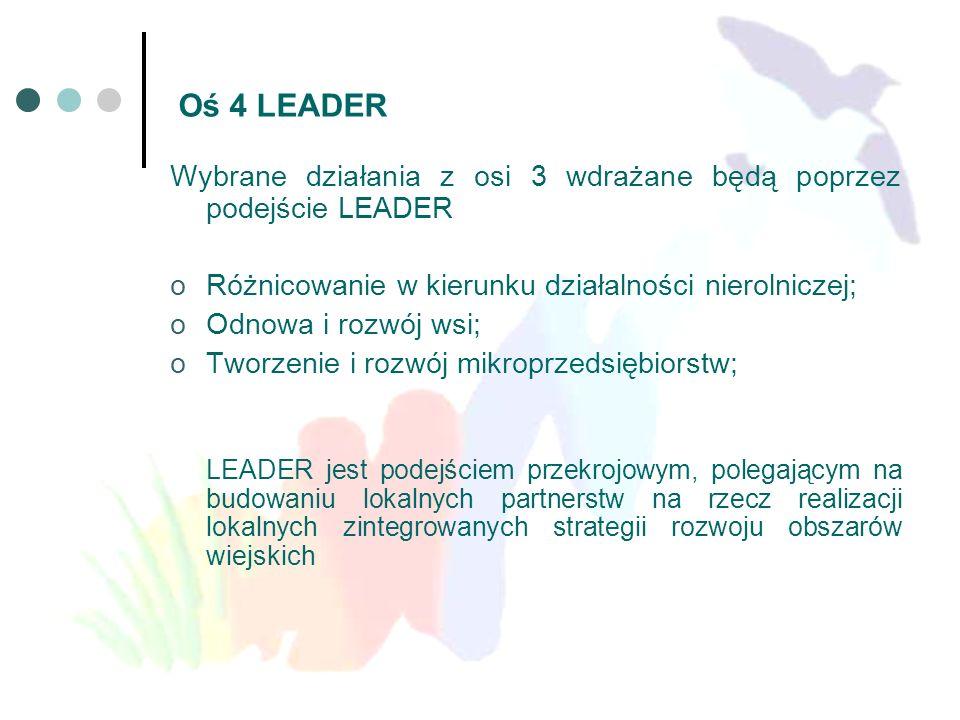 Oś 4 LEADER Wybrane działania z osi 3 wdrażane będą poprzez podejście LEADER. Różnicowanie w kierunku działalności nierolniczej;
