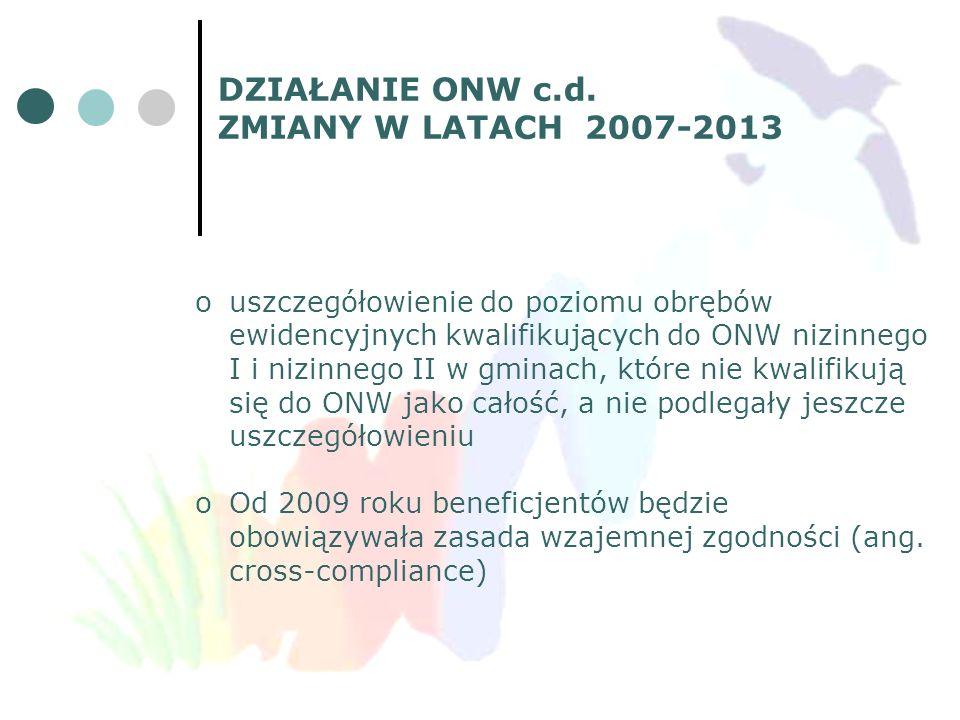 DZIAŁANIE ONW c.d. ZMIANY W LATACH 2007-2013