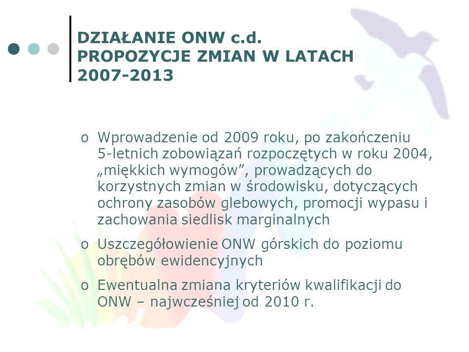 DZIAŁANIE ONW c.d. PROPOZYCJE ZMIAN W LATACH 2007-2013