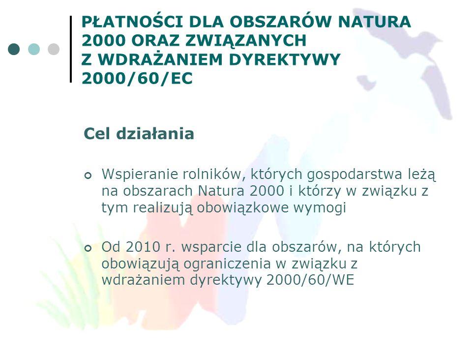 PŁATNOŚCI DLA OBSZARÓW NATURA 2000 ORAZ ZWIĄZANYCH Z WDRAŻANIEM DYREKTYWY 2000/60/EC