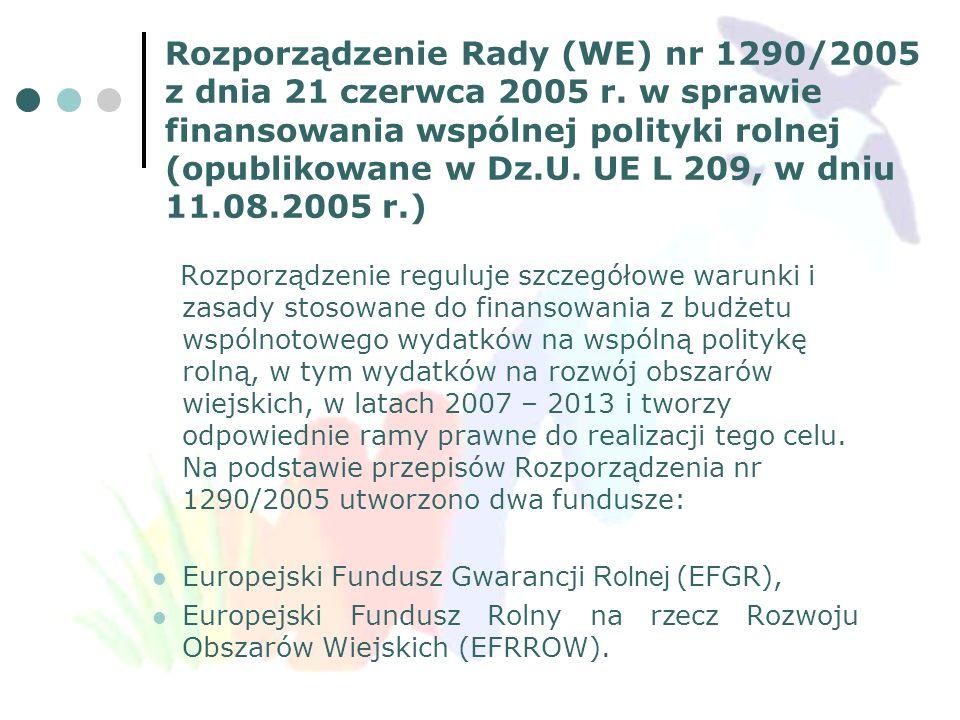 Rozporządzenie Rady (WE) nr 1290/2005 z dnia 21 czerwca 2005 r