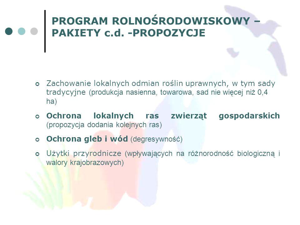 PROGRAM ROLNOŚRODOWISKOWY – PAKIETY c.d. -PROPOZYCJE