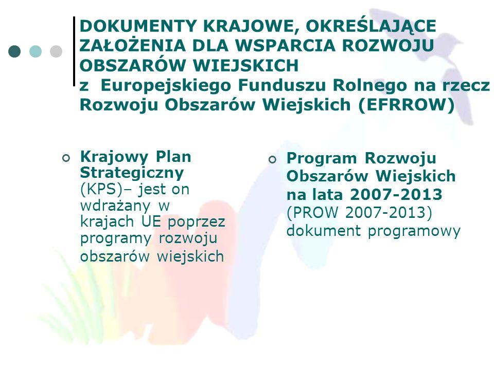 DOKUMENTY KRAJOWE, OKREŚLAJĄCE ZAŁOŻENIA DLA WSPARCIA ROZWOJU OBSZARÓW WIEJSKICH z Europejskiego Funduszu Rolnego na rzecz Rozwoju Obszarów Wiejskich (EFRROW)