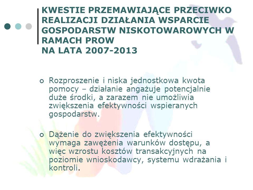 KWESTIE PRZEMAWIAJĄCE PRZECIWKO REALIZACJI DZIAŁANIA WSPARCIE GOSPODARSTW NISKOTOWAROWYCH W RAMACH PROW NA LATA 2007-2013