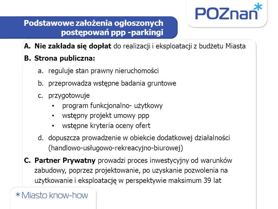 Podstawowe założenia ogłoszonych postępowań ppp -parkingi