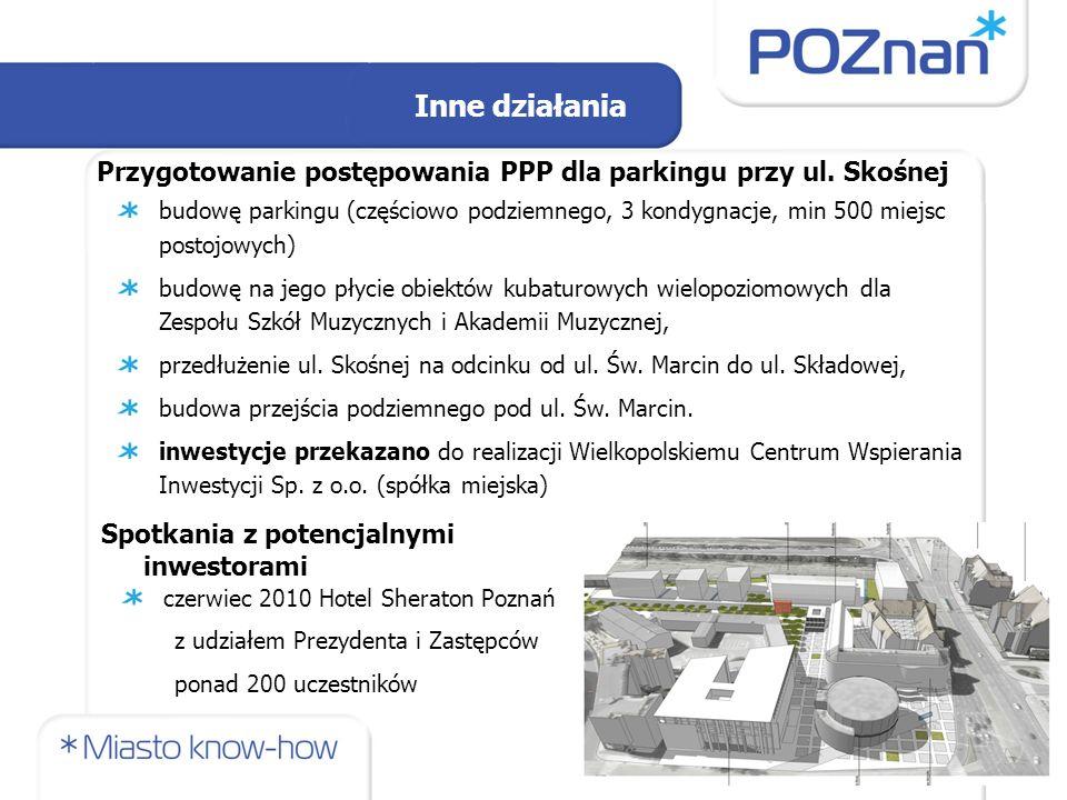 Inne działania Przygotowanie postępowania PPP dla parkingu przy ul. Skośnej.