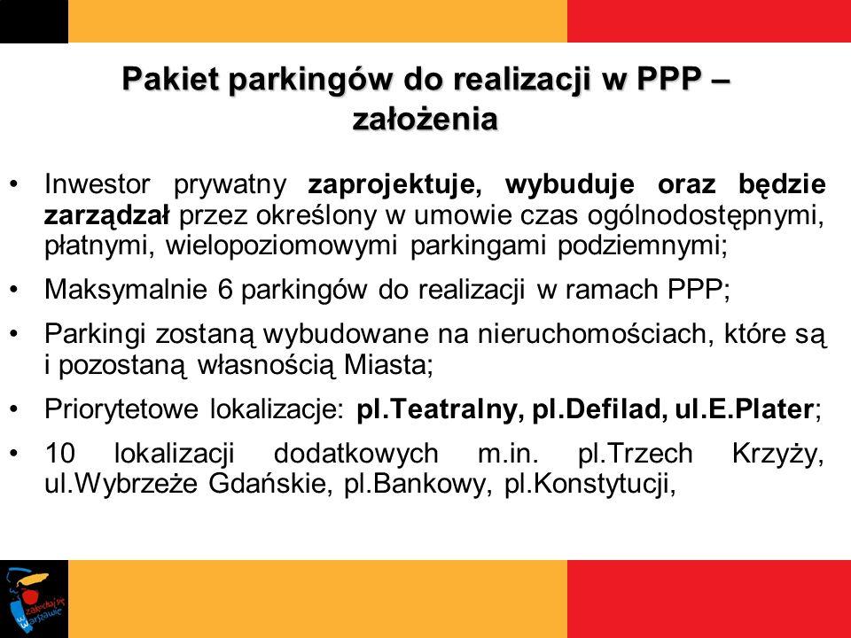 Pakiet parkingów do realizacji w PPP – założenia