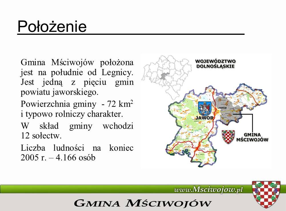 PołożenieGmina Mściwojów położona jest na południe od Legnicy. Jest jedną z pięciu gmin powiatu jaworskiego.