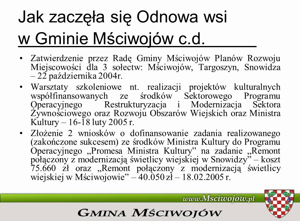Jak zaczęła się Odnowa wsi w Gminie Mściwojów c.d.