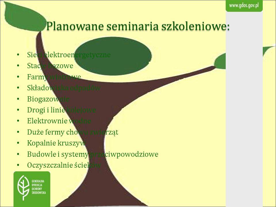 Planowane seminaria szkoleniowe:
