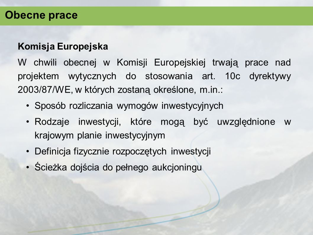 Obecne prace Komisja Europejska