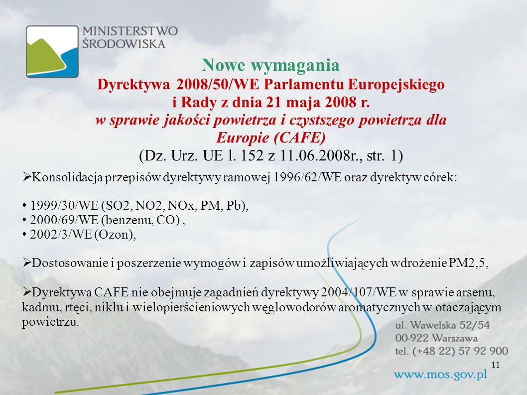 Nowe wymagania Dyrektywa 2008/50/WE Parlamentu Europejskiego i Rady z dnia 21 maja 2008 r. w sprawie jakości powietrza i czystszego powietrza dla Europie (CAFE)