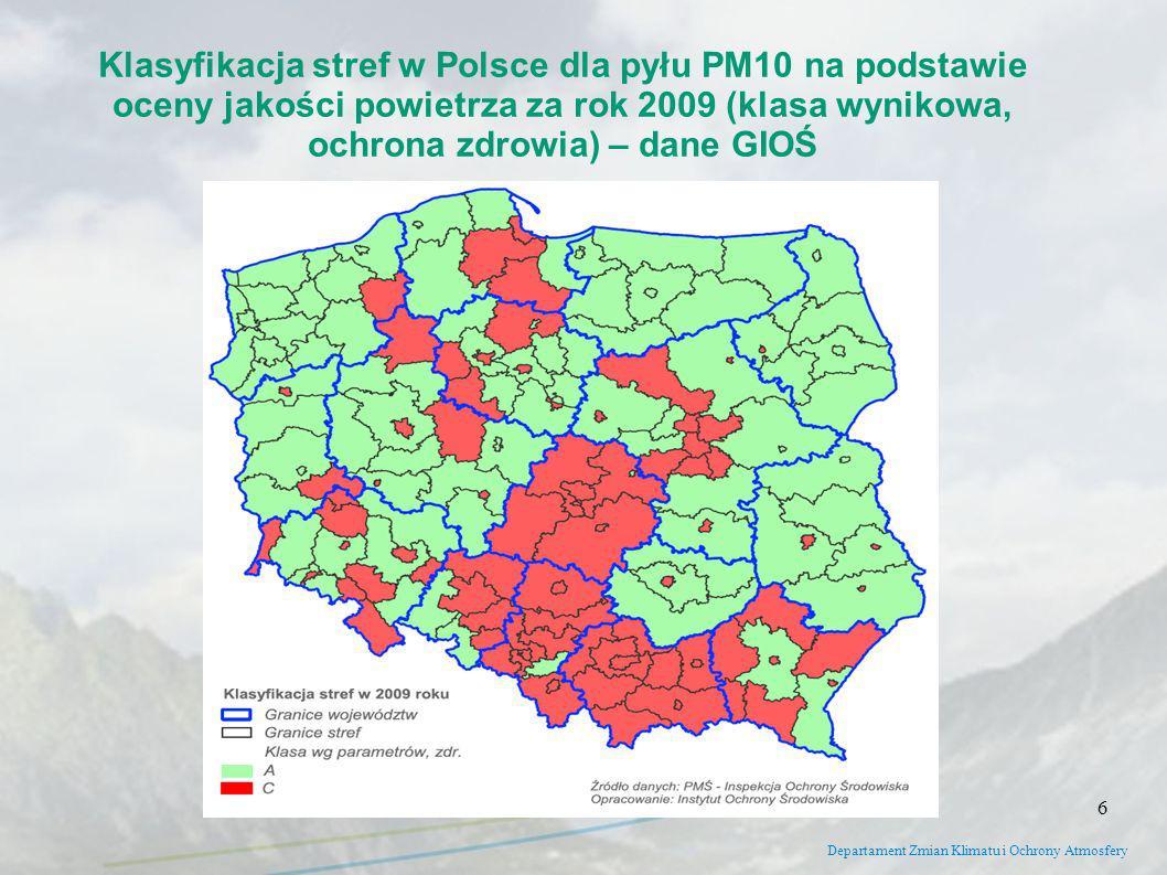Klasyfikacja stref w Polsce dla pyłu PM10 na podstawie oceny jakości powietrza za rok 2009 (klasa wynikowa, ochrona zdrowia) – dane GIOŚ