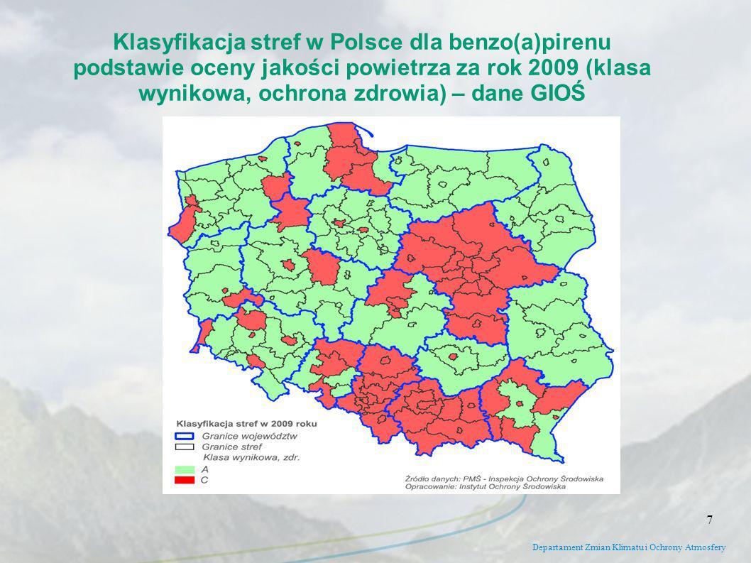 Klasyfikacja stref w Polsce dla benzo(a)pirenu podstawie oceny jakości powietrza za rok 2009 (klasa wynikowa, ochrona zdrowia) – dane GIOŚ