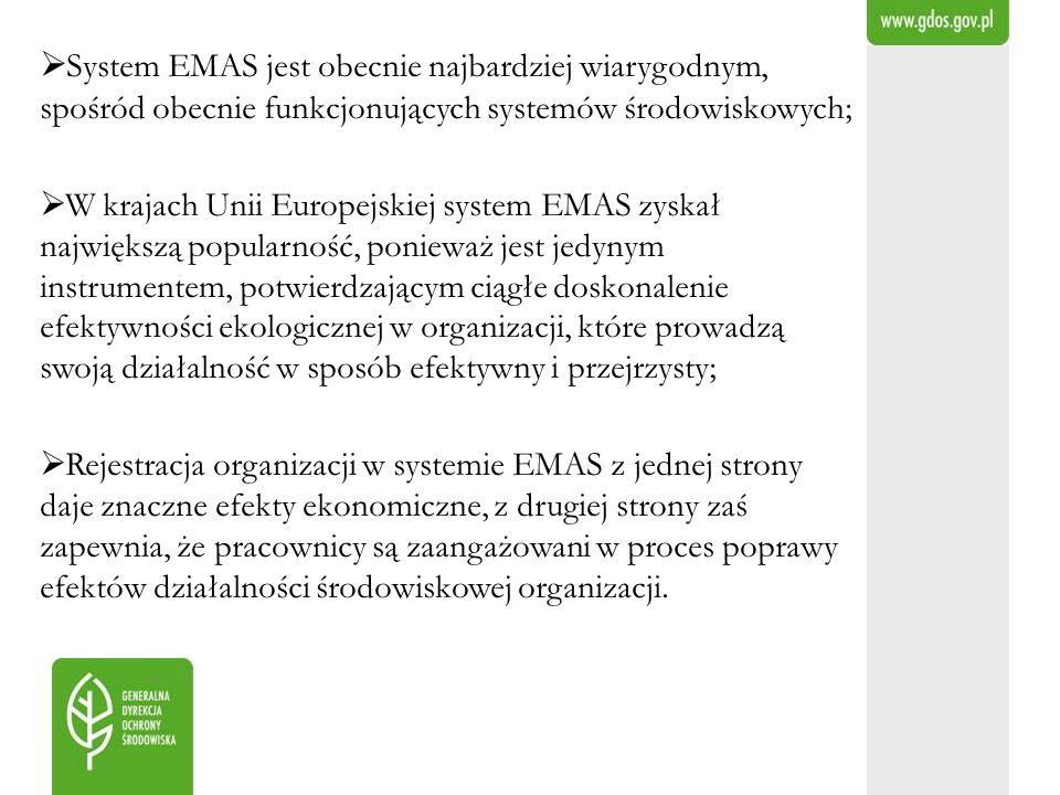 System EMAS jest obecnie najbardziej wiarygodnym, spośród obecnie funkcjonujących systemów środowiskowych;