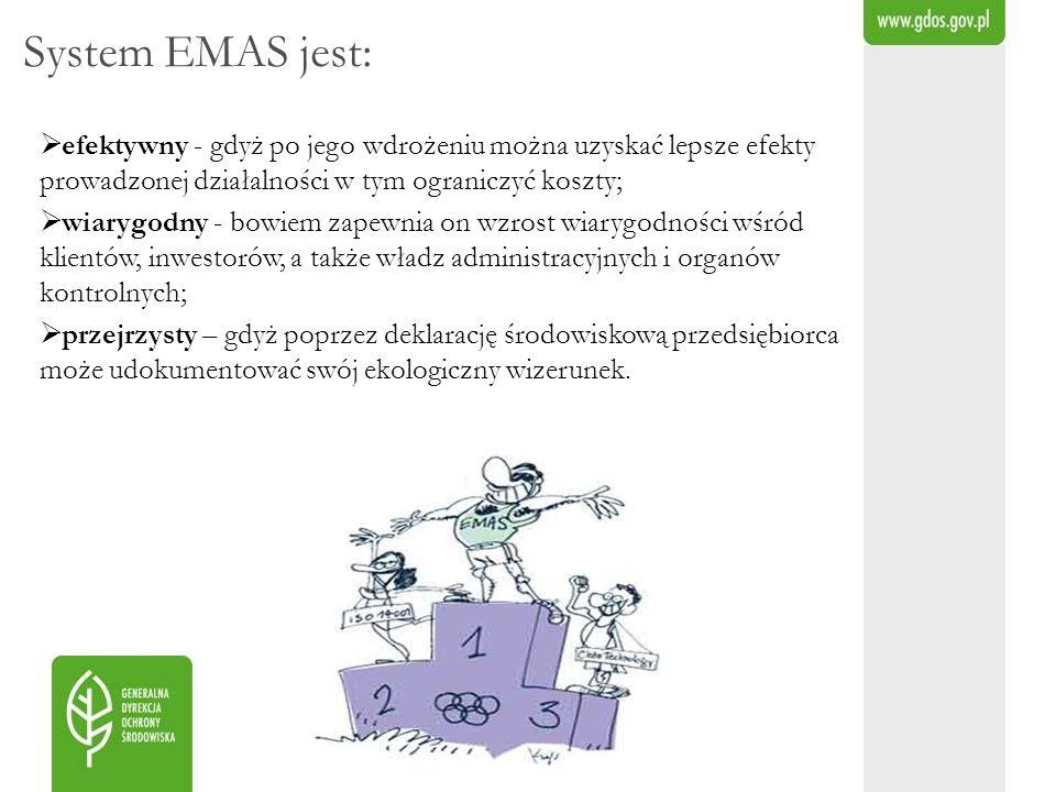 System EMAS jest: efektywny - gdyż po jego wdrożeniu można uzyskać lepsze efekty prowadzonej działalności w tym ograniczyć koszty;