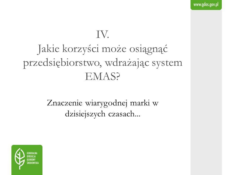 IV. Jakie korzyści może osiągnąć przedsiębiorstwo, wdrażając system EMAS.