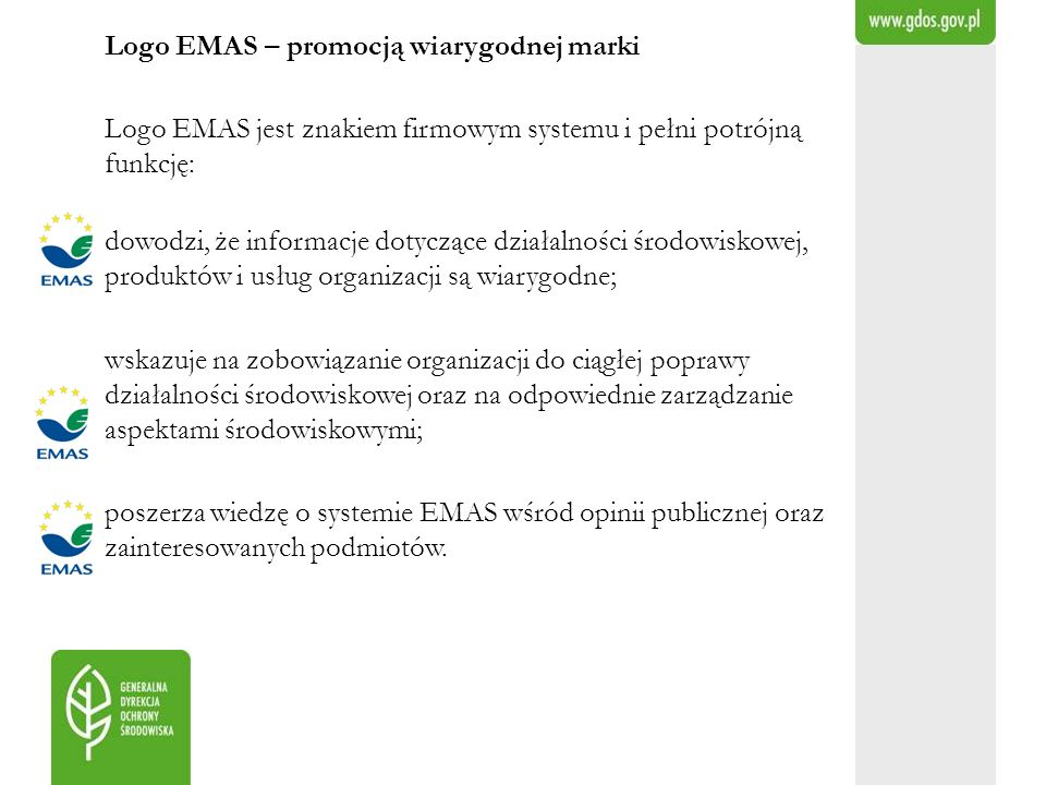 Logo EMAS – promocją wiarygodnej marki