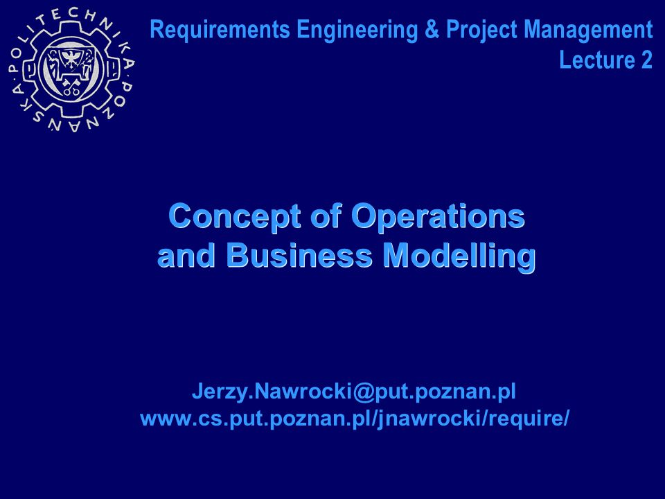 Concept of Operations and Business Modelling