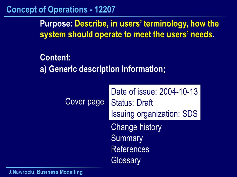 Concept of Operations - 12207
