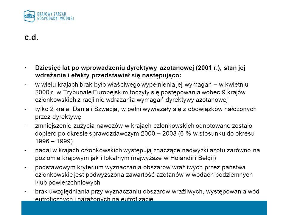 c.d.Dziesięć lat po wprowadzeniu dyrektywy azotanowej (2001 r.), stan jej wdrażania i efekty przedstawiał się następująco: