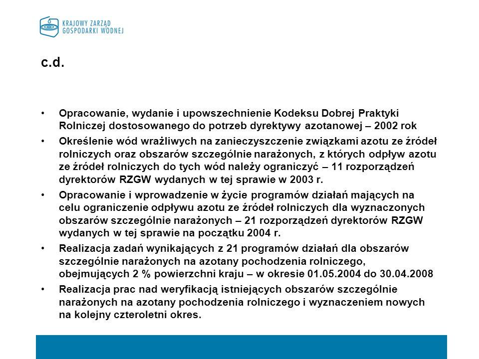 c.d.Opracowanie, wydanie i upowszechnienie Kodeksu Dobrej Praktyki Rolniczej dostosowanego do potrzeb dyrektywy azotanowej – 2002 rok.