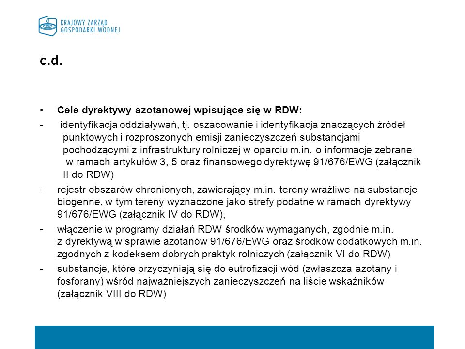 c.d. Cele dyrektywy azotanowej wpisujące się w RDW: