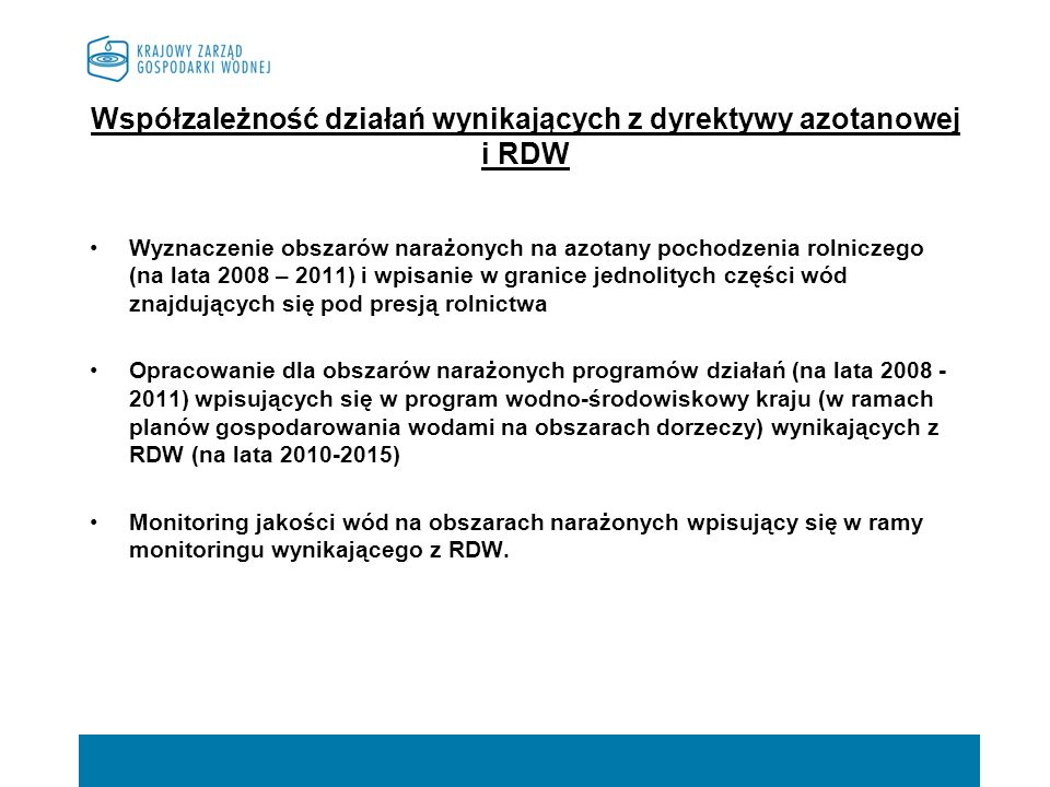 Współzależność działań wynikających z dyrektywy azotanowej i RDW