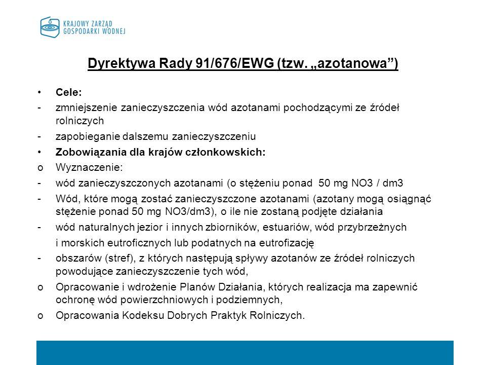 """Dyrektywa Rady 91/676/EWG (tzw. """"azotanowa )"""