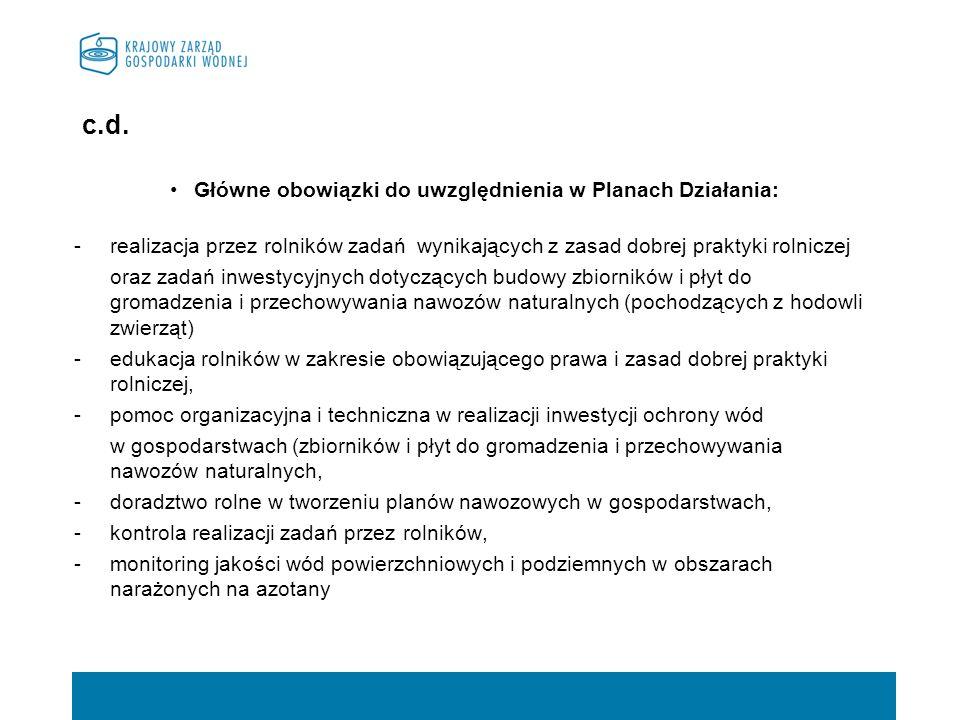 c.d. Główne obowiązki do uwzględnienia w Planach Działania: