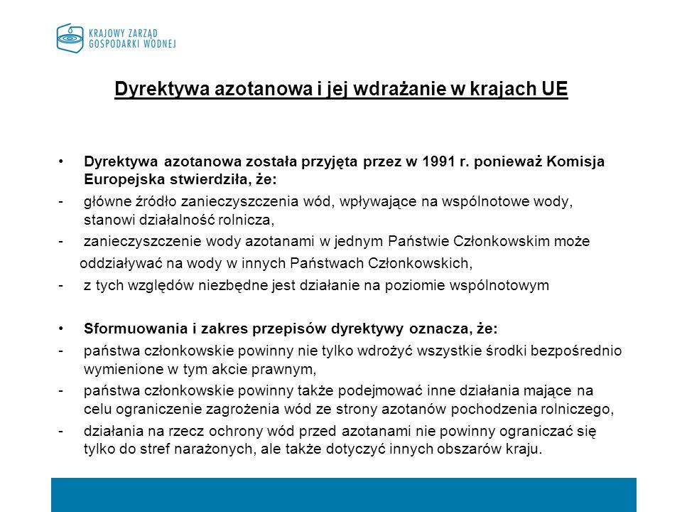 Dyrektywa azotanowa i jej wdrażanie w krajach UE