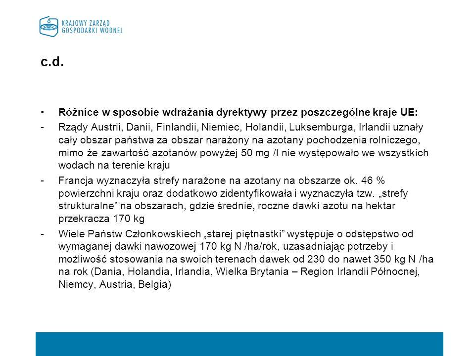 c.d. Różnice w sposobie wdrażania dyrektywy przez poszczególne kraje UE: